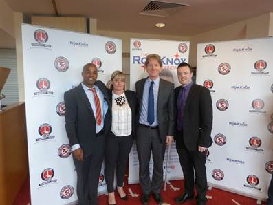 'Michael Brown with Job Centre Plus (JCP) outreach gangs lead worker Pauline Woodcock, the permanent national secretary for the department of work and pensions Robert Devereux and Triston Cropley JCP Royal Borough of Greenwich Partnership Manager.' Where Michale received an award for gaining employment for young people.