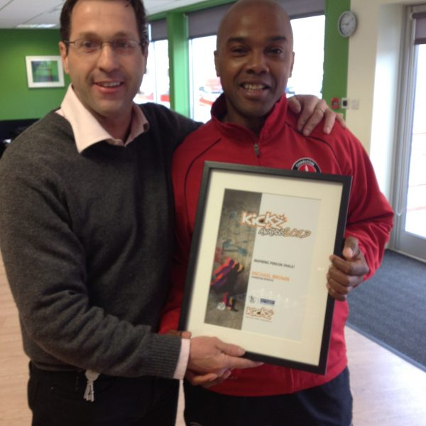 'Michael with Jason Morgan MBE recieving award for most inspirational male.'