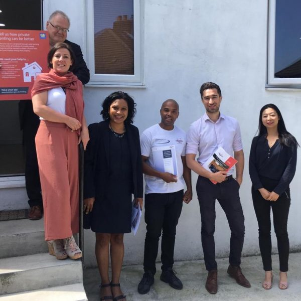 from left to right: Nick Long Property Initiatives Manager, Jane Doherty CEO U-Turn Recovery Project, Damien Egan Local Mayor of Lewisham, Michael Brown Director of Community Interventions supported Housing & Supported Move On Homes Manager, Janet Darby Local MP for Lewisham East and Nan-Li Property Developer visit on 28/06/19 - They came to view a House of Multiple Occupants (HMO) that was being managed to a high standard in the borough of Lewisham. This HMO was being managed by Community Interventions.