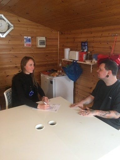 Service user engaging in a key work session 