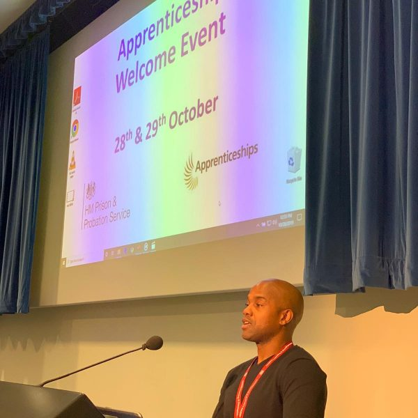 """October 2019 Michael Brown takes part in the  first """"Welcome Event"""" for the National Prison  Officers Training Centre at Newbold Revel, near  Rugby. Michael delivered an inspirational offender  journey story for those officers in training."""