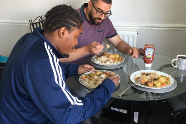 Leo spending quality time over lunch with service user